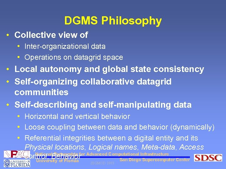 DGMS Philosophy • Collective view of • Inter-organizational data • Operations on datagrid space