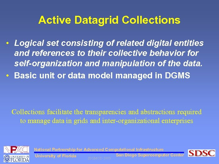 Active Datagrid Collections • Logical set consisting of related digital entities and references to