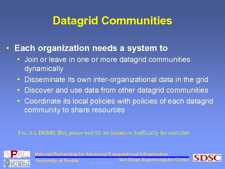 Datagrid Communities • Each organization needs a system to • Join or leave in