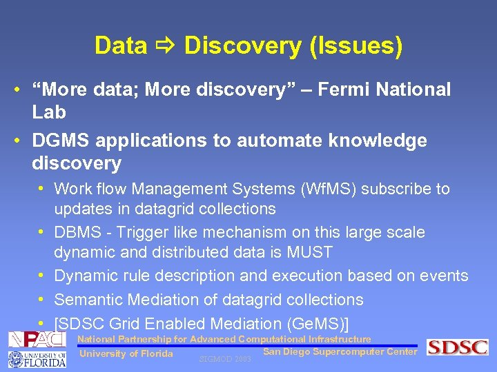 """Data Discovery (Issues) • """"More data; More discovery"""" – Fermi National Lab • DGMS"""