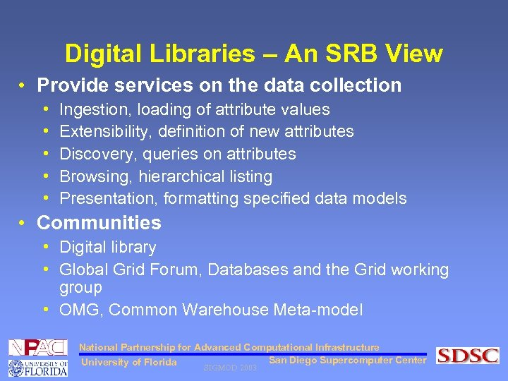 Digital Libraries – An SRB View • Provide services on the data collection •