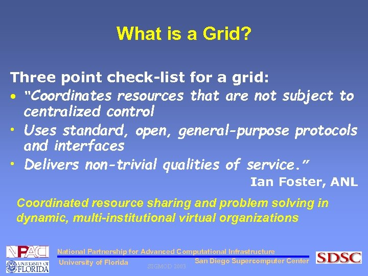 """What is a Grid? Three point check-list for a grid: • """"Coordinates resources that"""