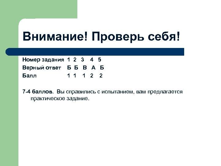 Внимание! Проверь себя! Номер задания 1 2 3 4 5 Верный ответ Б Б