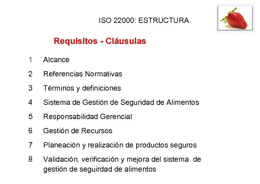 ISO 22000: ESTRUCTURA Requisitos - Cláusulas 1 Alcance 2 Referencias Normativas 3 Términos y