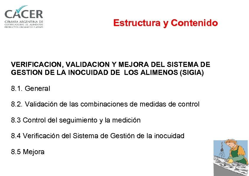 Estructura y Contenido VERIFICACION, VALIDACION Y MEJORA DEL SISTEMA DE GESTION DE LA INOCUIDAD