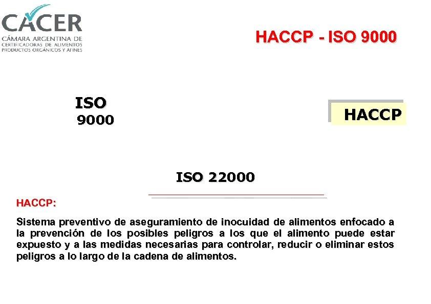 HACCP - ISO 9000 ISO HACCP 9000 ISO 22000 HACCP: Sistema preventivo de aseguramiento