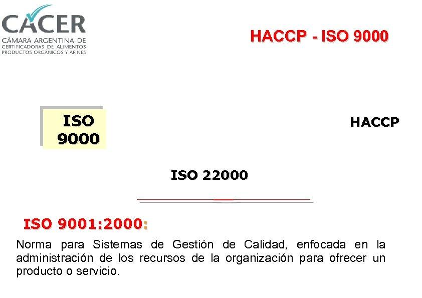HACCP - ISO 9000 HACCP ISO 22000 ISO 9001: 2000: Norma para Sistemas de