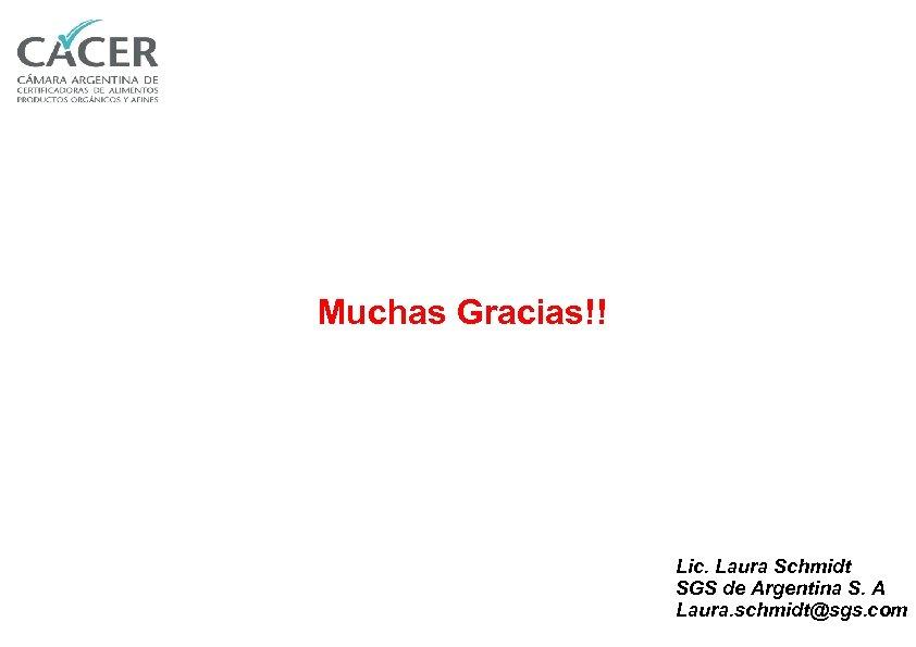 Muchas Gracias!! Lic. Laura Schmidt SGS de Argentina S. A Laura. schmidt@sgs. com