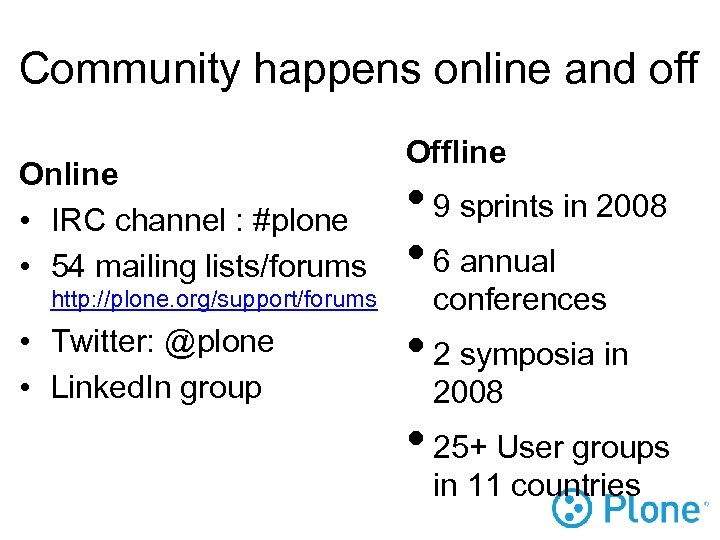 Community happens online and off Online • IRC channel : #plone • 54 mailing