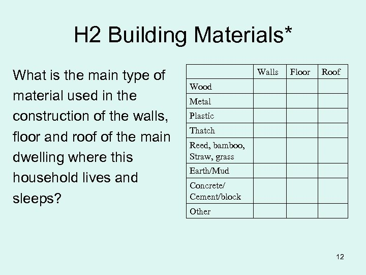 H 2 Building Materials* What is the main type of material used in the