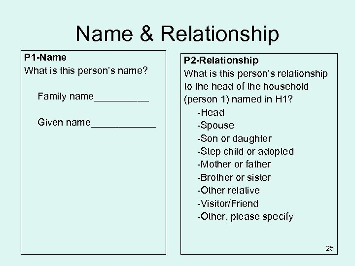 Name & Relationship P 1 -Name What is this person's name? Family name_____ Given