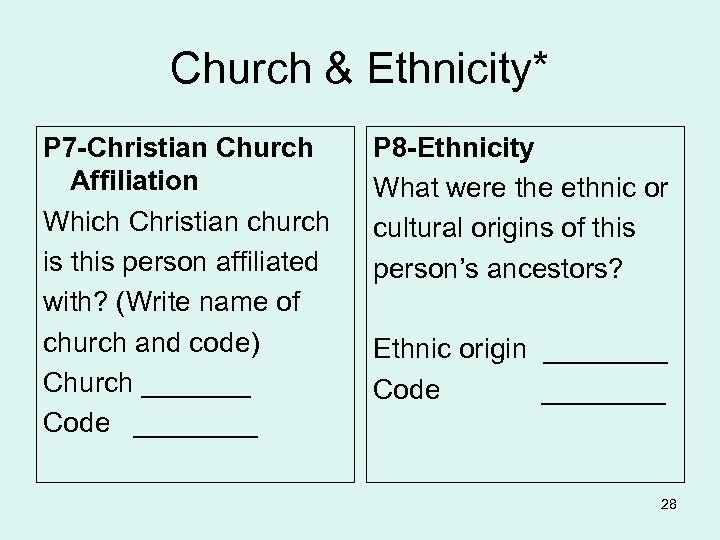 Church & Ethnicity* P 7 -Christian Church Affiliation Which Christian church is this person