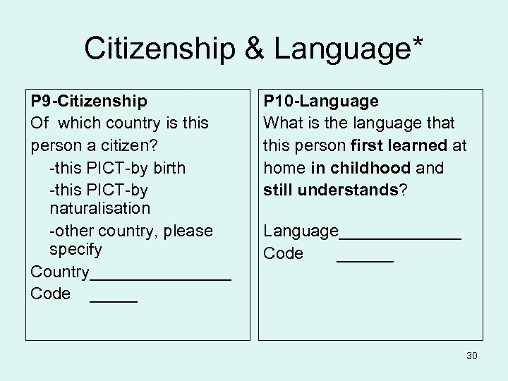 Citizenship & Language* P 9 -Citizenship Of which country is this person a citizen?