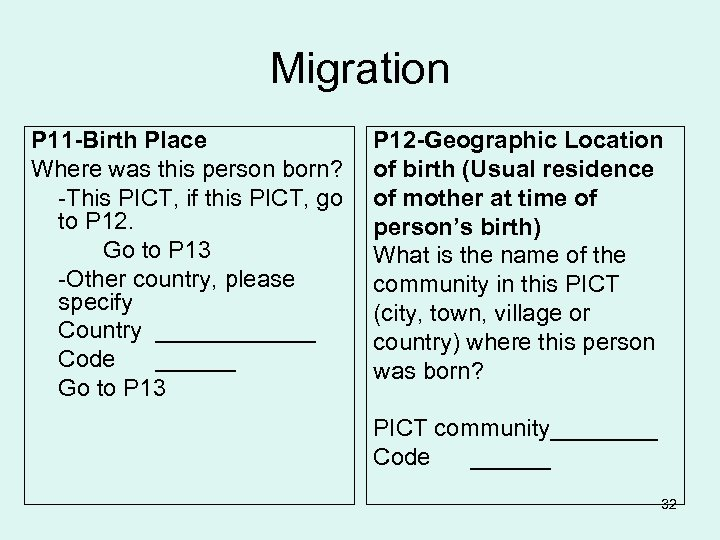 Migration P 11 -Birth Place Where was this person born? -This PICT, if this