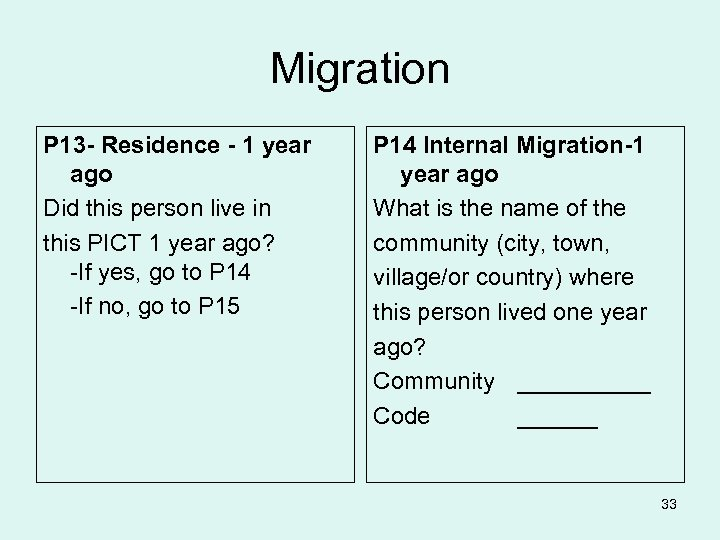 Migration P 13 - Residence - 1 year ago Did this person live in