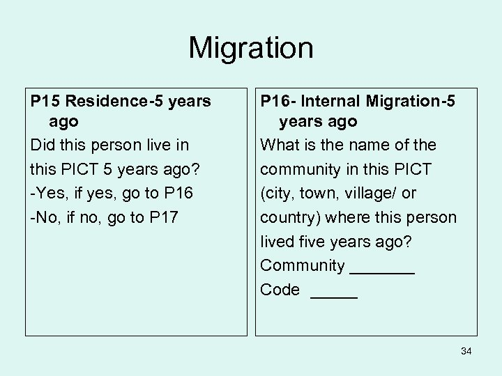Migration P 15 Residence-5 years ago Did this person live in this PICT 5