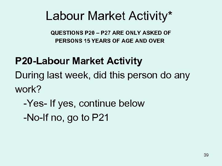 Labour Market Activity* QUESTIONS P 20 – P 27 ARE ONLY ASKED OF PERSONS