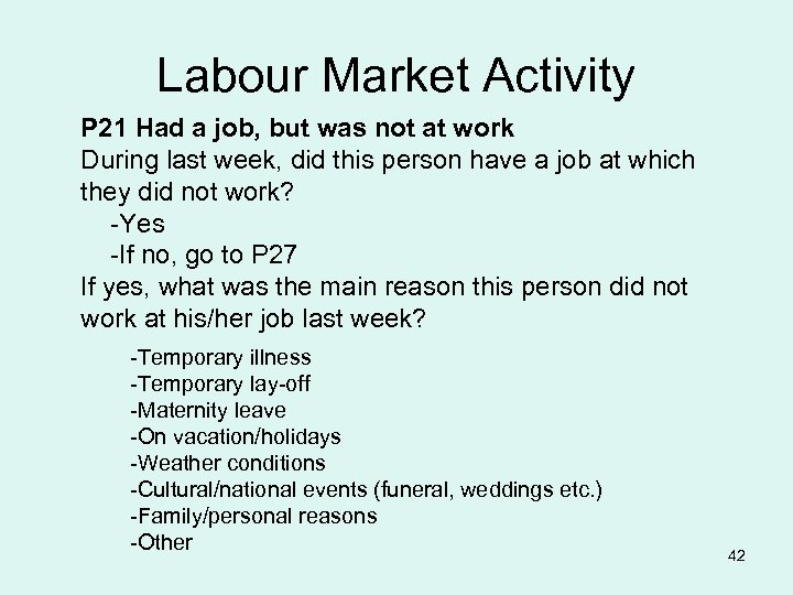 Labour Market Activity P 21 Had a job, but was not at work During