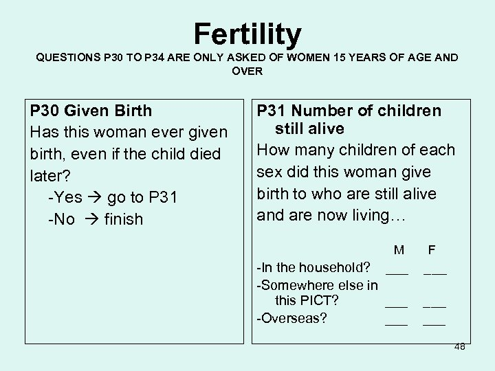 Fertility QUESTIONS P 30 TO P 34 ARE ONLY ASKED OF WOMEN 15 YEARS