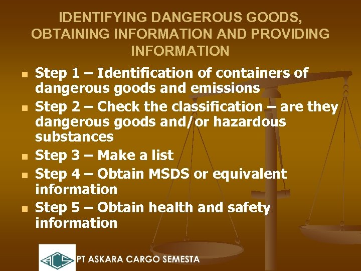 IDENTIFYING DANGEROUS GOODS, OBTAINING INFORMATION AND PROVIDING INFORMATION n n n Step 1 –