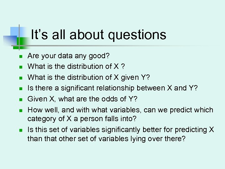 It's all about questions n n n n Are your data any good? What