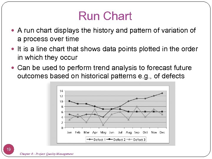 Run Chart A run chart displays the history and pattern of variation of a