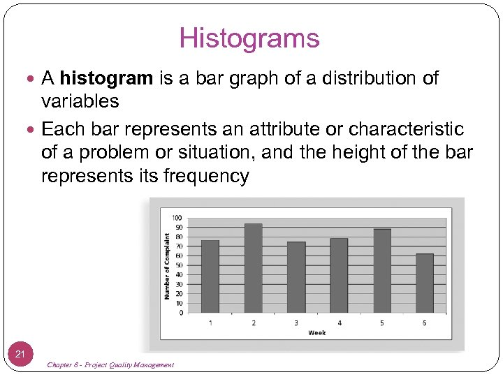 Histograms A histogram is a bar graph of a distribution of variables Each bar