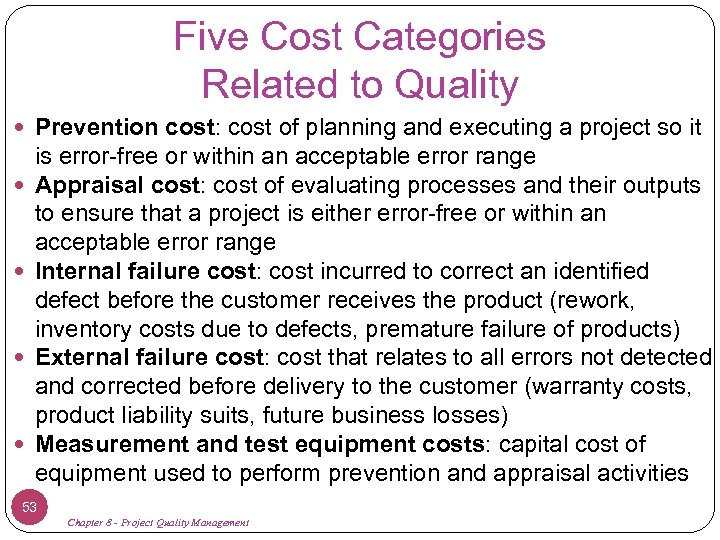 Five Cost Categories Related to Quality Prevention cost: cost of planning and executing a