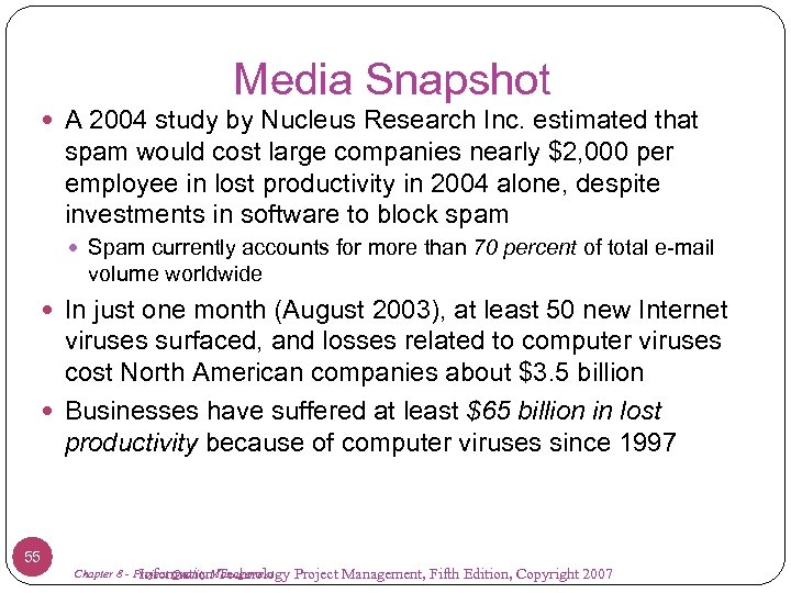 Media Snapshot A 2004 study by Nucleus Research Inc. estimated that spam would cost