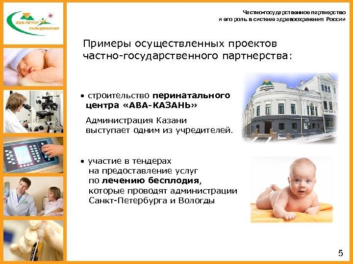Частно-государственное партнерство и его роль в системе здравоохранения России Примеры осуществленных проектов частно-государственного партнерства: