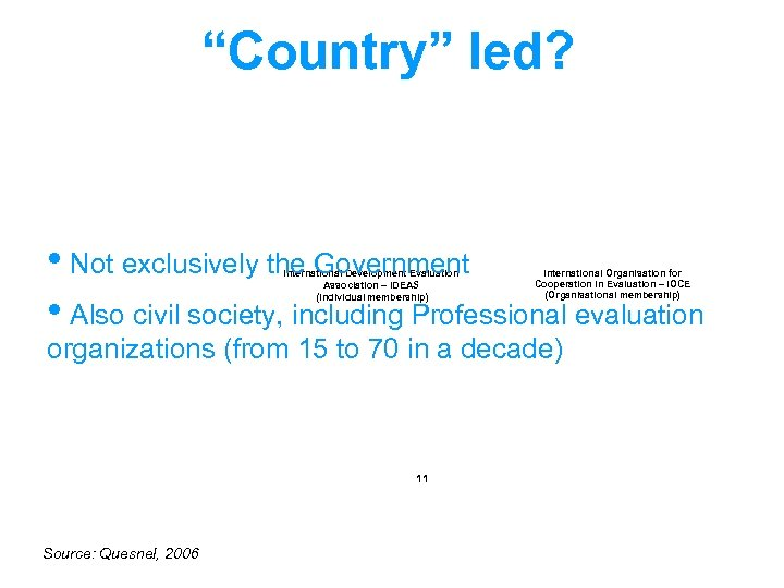 """""""Country"""" led? • Not exclusively the Government • Also civil society, including Professional evaluation"""