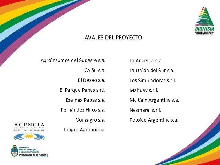AVALES DEL PROYECTO Agroinsumos del Sudeste s. a. CAISE s. a. El Deseo s.