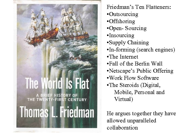 Friedman's Ten Flatteners: • Outsourcing • Offshoring • Open- Sourcing • Insourcing • Supply