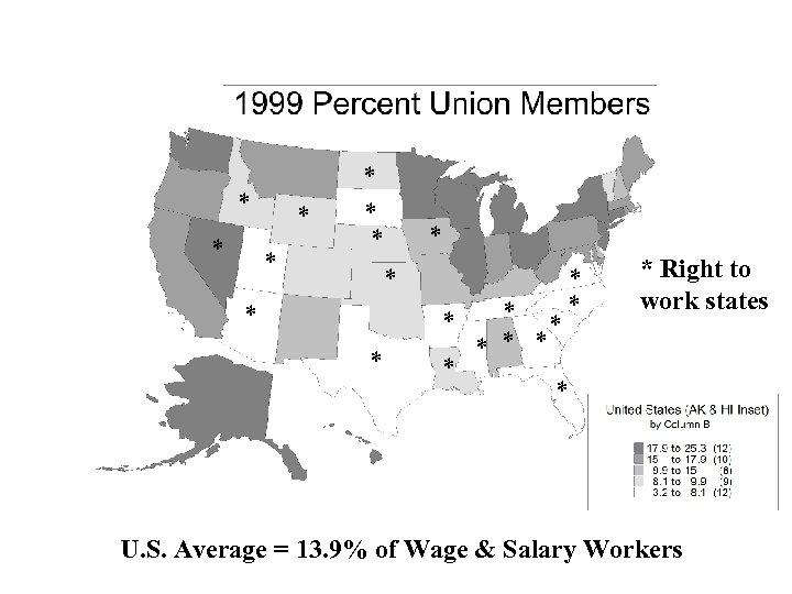 * * * * * * Right to work states * U. S. Average
