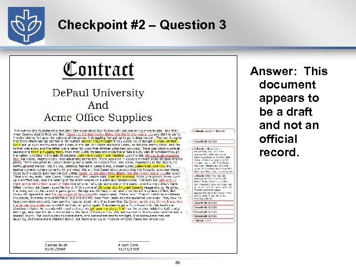 Checkpoint #2 – Question 3 Answer: This document appears to be a draft and