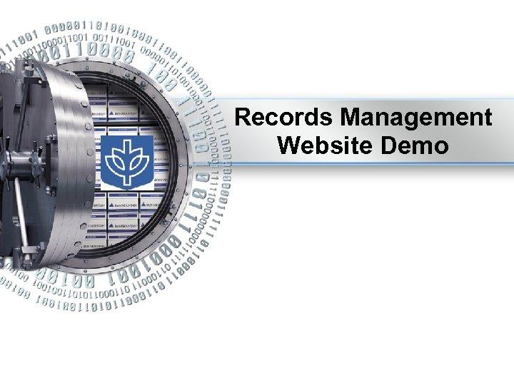 Records Management Website Demo