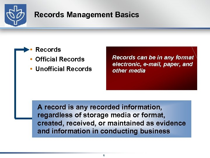 Records Management Basics • Records • Official Records • Unofficial Records can be in