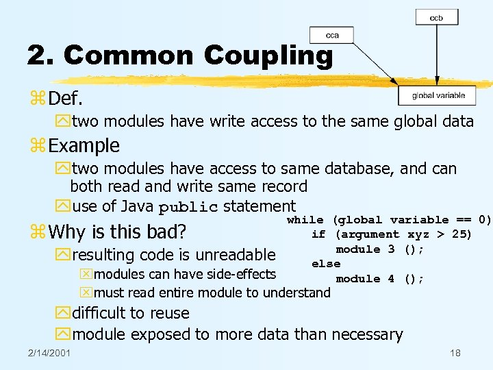 2. Common Coupling z Def. ytwo modules have write access to the same global