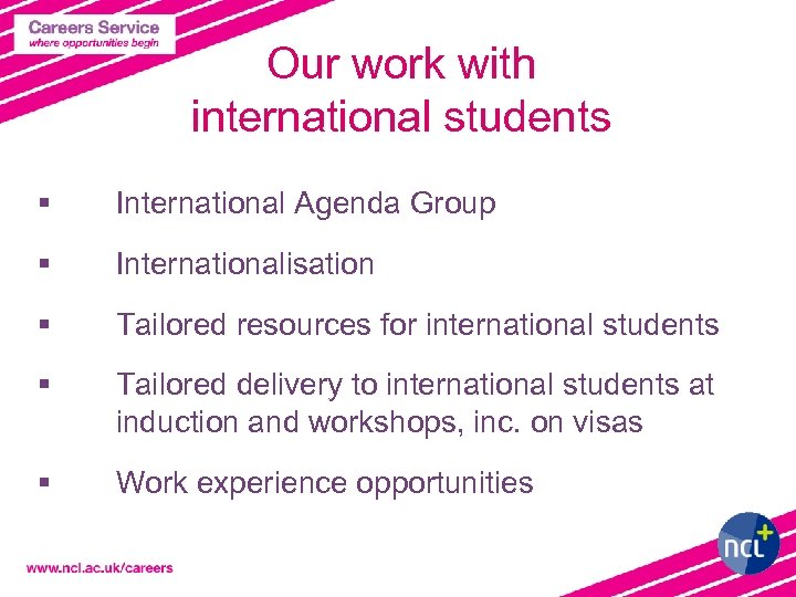 Our work with international students § International Agenda Group § Internationalisation § Tailored resources