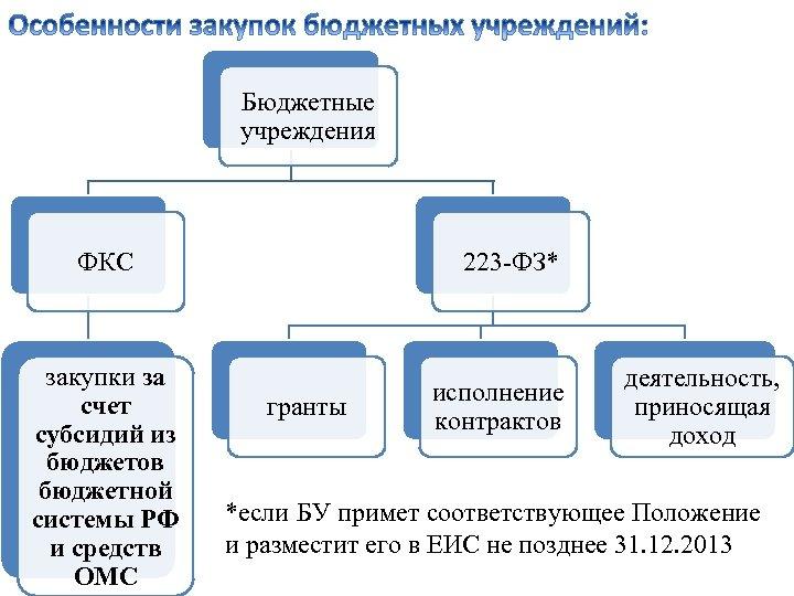 Бюджетные учреждения ФКС закупки за счет субсидий из бюджетов бюджетной системы РФ и средств