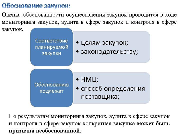 Оценка обоснованности осуществления закупок проводится в ходе мониторинга закупок, аудита в сфере закупок и