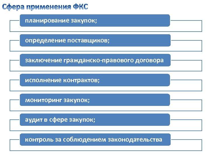 планирование закупок; определение поставщиков; заключение гражданско-правового договора исполнение контрактов; мониторинг закупок; аудит в сфере