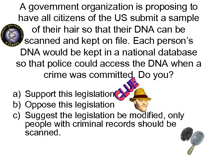 A government organization is proposing to have all citizens of the US submit a