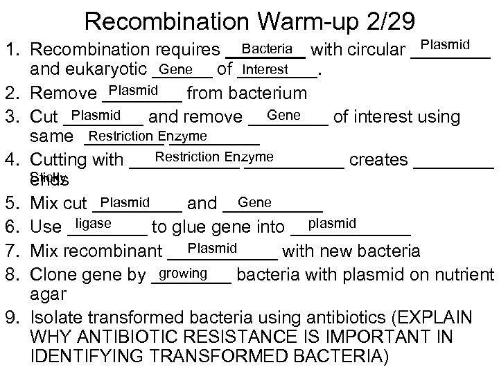 Recombination Warm-up 2/29 Plasmid Bacteria 1. Recombination requires ____ with circular ____ Gene Interest