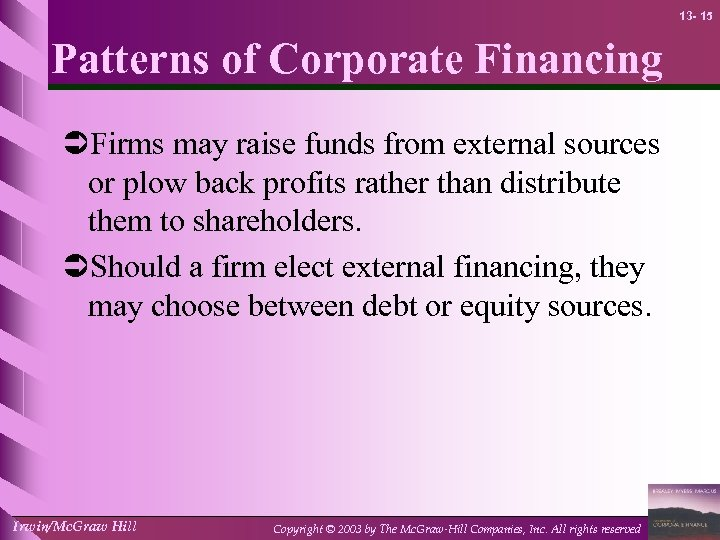 13 - 15 Patterns of Corporate Financing ÜFirms may raise funds from external sources