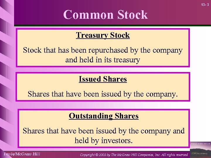 13 - 3 Common Stock Treasury Stock that has been repurchased by the company