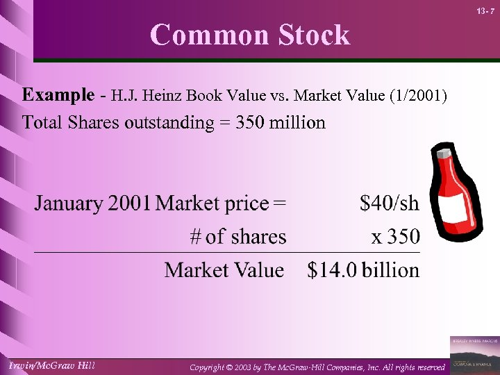 13 - 7 Common Stock Example - H. J. Heinz Book Value vs. Market