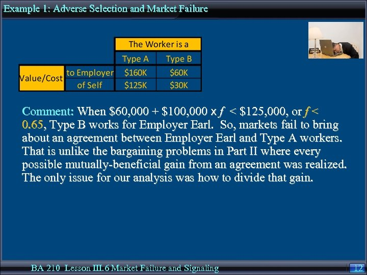 Example 1: Adverse Selection and Market Failure Comment: When $60, 000 + $100, 000