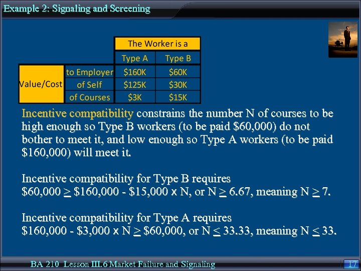 Example 2: Signaling and Screening Incentive compatibility constrains the number N of courses to
