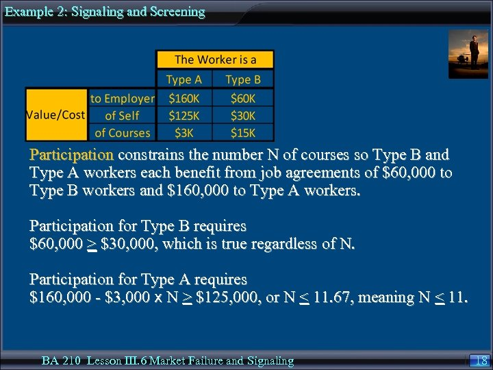 Example 2: Signaling and Screening Participation constrains the number N of courses so Type